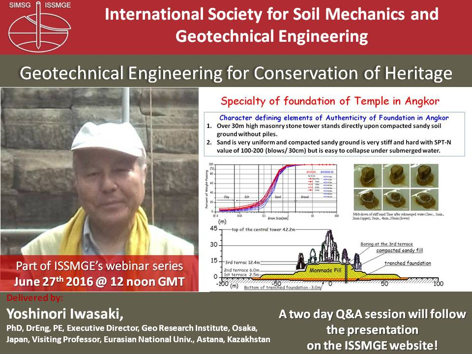 "Geotechnical Engineering for Conservation of Heritage {""category"":""webinar"",""subjects"":[""Other""],""number"":""OT101"",""instructors"":[""Yoshinori Iwasaki""]}"