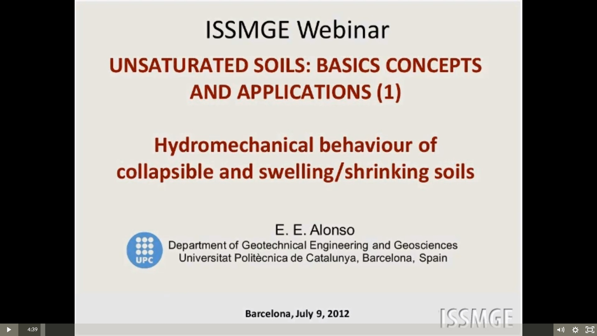 "Unsaturated Soils: Basic Concepts and Applications (Part 1 and Part 2) {""category"":""webinar"",""subjects"":[""Soil Mechanics""],""number"":""SM101"",""instructors"":[""Eduardo Alonso""]}"